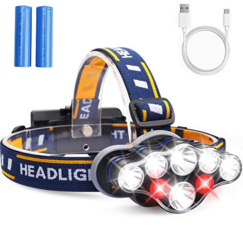 LED Head Torch, MOSFiATA Super Bright Headlamp 13000 Lumens Rechargeable...