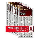 Filtrete 20x36x1, AC Furnace Air Filter, MPR 1000, Micro Allergen Defense, 6-Pack (exact dimensions 19.81 x 35.81 x 0.81)