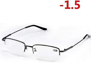 LNNSCE -1.0-1.5 -2.0 to -6.0 Ultralight Half Frame Metal Finished Myopia Glasses Men Fashion Black Frame Square Nearsighted Glasses