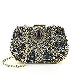 Liansheng Vestido de Noche de Moda con Cuentas Mini Diamante Negro con Cuentas de la Vendimia Bolso de Embrague con Cuentas de Cristal Carpeta del Banquete de Boda