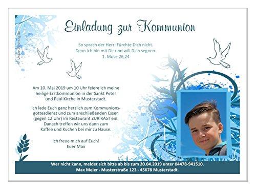 Kommunioneinladungen für Jungs schön edel - mit FOTO (oder ohne) - Wunschtext - 100 Karten, Größe 17 x 12 cm