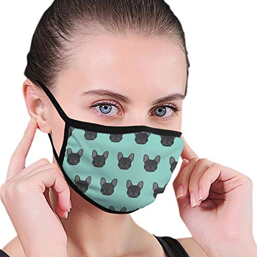 ch Bulldog Black Coat Frenchie Must Have Gifts for Dog Person Dog Lover Bulldog Owner Cute Doge Mouth Mask Fashion Face Mask for Men and Women, Boys and Girls