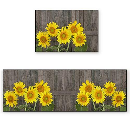 LOVE HOME DAY Area Rug Set 2 Piece Non-Slip Doormat Kitchen Mats, Summer Yellow Sunflowers Blossoms Indoor Water Absorbent Runner Rugs for Kitchen Floors Vintage Wood Grain Board