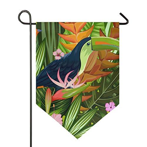 DEZIRO Garten-Flagge, schöne Toukan, vertikal, doppelseitig, Garten-Dekoration, farbenfrohes Design für alle Jahreszeiten und Feiertage, Polyester, 1, 28x40in