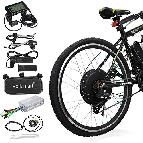 """Voilamart Electric Bicycle Kit 26"""" Rear Wheel 48V 1000W E-Bike Conversion Kit with LCD Display, Cycling Hub Motor with Intelligent Controller and PAS System for Road Bike"""