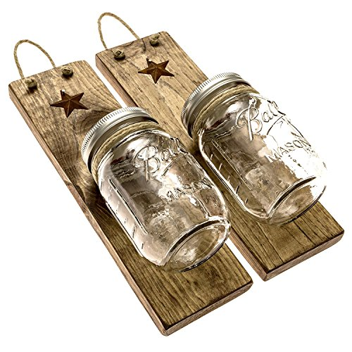 Heartful Homes Rustic Wood Bathroom Wall Decor - Pair Primitive Mason Jar Organizers -#1 Decorative Accessories Set for Country, Western, Vintage, and Outhouse Style - Toothbrush Holder (Provincial)