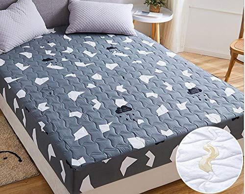 XLMHZP Protector de colchón Impermeable y Transpirable,Sábana Impermeable, Protector de colchón Transpirable y Lavable, sábana de Ajuste Fijo Antideslizante Acolchado Grueso-K_180x220cm + 30cm
