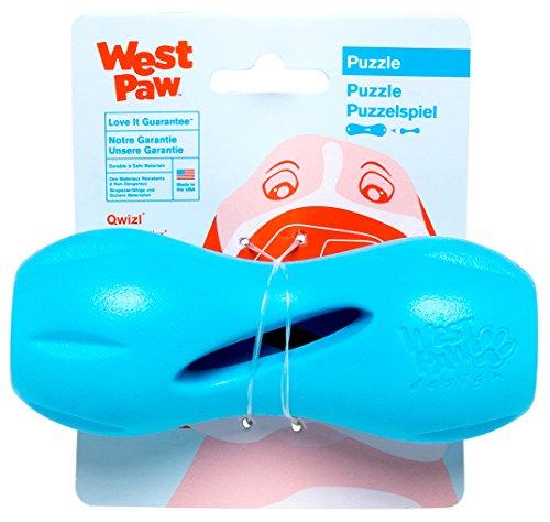 West Paw Zogoflex Qwizl Distributeur de friandises interactif pour Chien Bleu Turquoise Taille S
