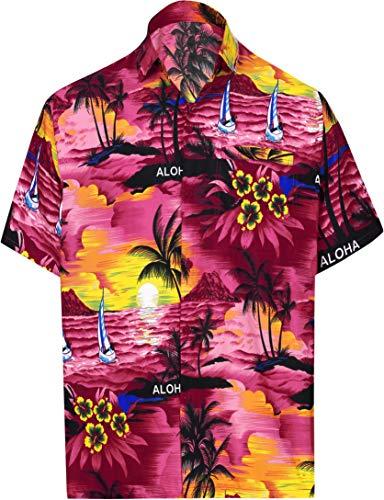 LA LEELA Beach Hemd männer Hawaiihemd Kurzarm Button Down Kragen Fronttasche Beach Strand Hemd Manner Urlaub Casual Herren Aloha XXL Rosa_W33