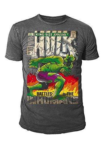 Marvel Comics Hulk - Camiseta para hombre, tamaño King (S-XL), color gris gris S