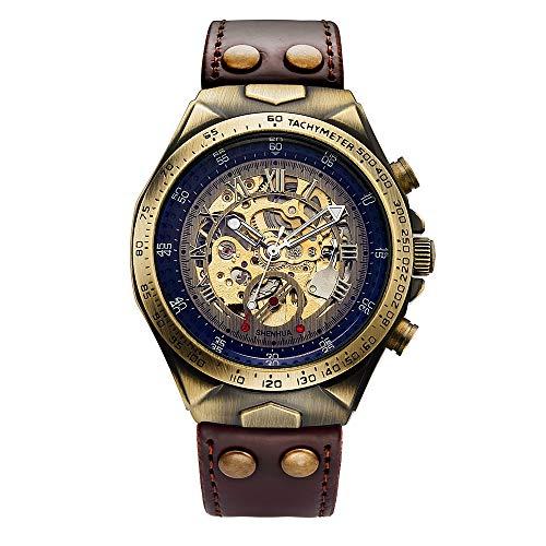Leder Mechanische Uhr Herren Automatische Steampunk Uhr Herren Skeleton Uhren Bronze Transparente Vintage Sport Armbanduhr Männlich 24CM braun