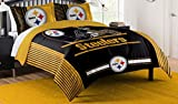 The Northwest Company Officially Licensed NFL Pittsburgh Steelers 'Safety' Full/Queen Comforter and 2 Sham Set, 86' x 86' , Black