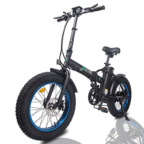 "ECOTRIC Electric Foldable Bike Beach Snow Bicycle 20"" 4.0 inch Fat Tire Aluminum Frame Ebike 500W 48V/13AH Electric Mountain Bicycle (Blue)"
