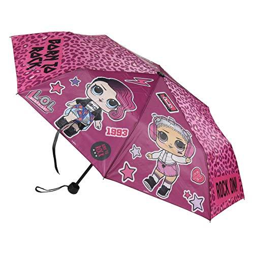 Paraguas plegable con funda para niñas, diseño de lunares, color rosa oscuro,...