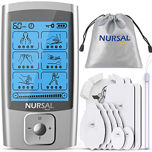 NURSAL EMS TENS Unit Muscle Stimulator with 24 Modes & 8 Electrode Pads/ Pouch/Pad Holder,...