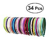 Frcolor Cerchietti in raso per donne - 1cm fasce per capelli ricamate in raso, 34 pezzi (34 colori)