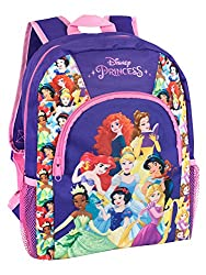 Purple and pink Disney Princess Bag A striking backpack featuring Merida from Brave, Belle from Beauty and the Beast, Ariel from the Little Mermaid, Cinderella, Jasmin from Alladin, Tiana from the Princess and the Frog, Snow White and Rapunzel from T...