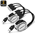 SDBAUX Multi USB Charger Cable Retractable 2Pack 4ft 3 in 1 Multiple Charging Cord Adapter with Mini Type C Micro USB Port Connectors Compatible with Cell Phones Tablets Universal Use (Charging Only)