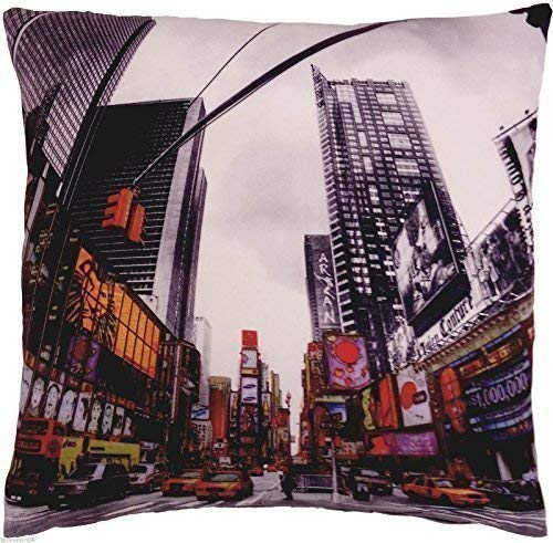 rempli Funky Novel Times Square New York américain rouge noir COUSSIN 18 \