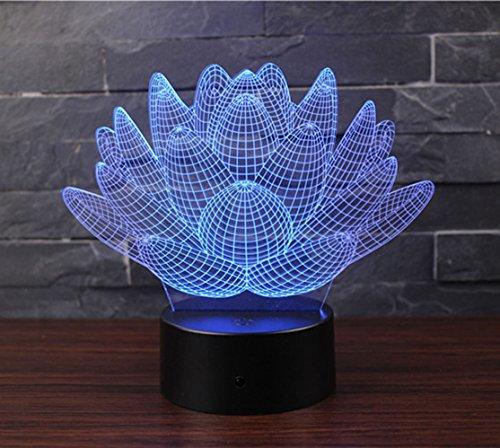 NHSUNRAY 3D Lámpara de Escritorio Mesa 7 cambiar El Color botón táctil de escritorio del USB LED lámpara de Tabla Ligera Decoración para El Hogar Decoración para Niños Mejor Regalo (Loto)