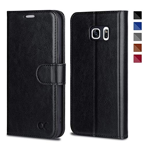 OCASE Samsung Galaxy S7 Case [ Card Slot ] [ Kickstand ] Leather Flip Wallet Case for Samsung Galaxy S7 - Black