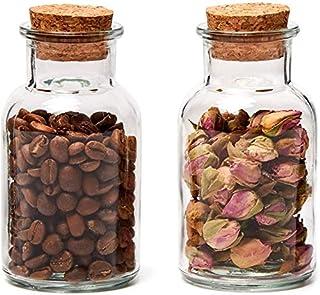Annfly Lot de 2 bocaux en verre avec couvercles en liège - Multifonctionnels - Pour yaourt, confiture, épices, céréales et...