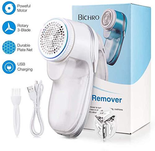 Bichiro® Fusselentferner, Elektrischer Fusselentferner mit USB, 2018 Aktualisierter tragbarer Stoffrasierer für Kleidung, Pullover, Möbel, Wolle, Teppiche, etc (Weiß)