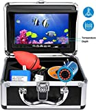 Portable Underwater Fishing Camera,HXEY with Water Depth and Temperature Function IP68 Waterproof 7 Inch HD LCD Monitor Fish Finder 12pcs IR Infrared LED with 15m Cable for Ice,Lake,Boat,Sea Fishing