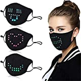 LED_Mask Voice-Activated Face_Masks,USB Rechargeable Luminous_Mask,LED Light Up_Masks for Rave Halloween Masquerade Festival Party Face_mask Adjustable Black