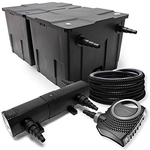 Filter Set aus Bio Teichfilter 60000l, 24W UVC Teichklärer, 80W Pumpe, Schlauch u. Fontänenpumpe