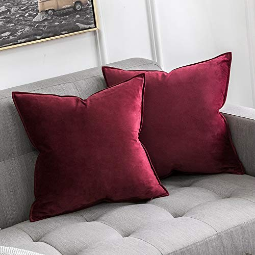 MIULEE Pack of 2 Decorative Velvet Throw Pillow Cover Soft Pillowcase Solid Square Cushion Case for Sofa Bedroom Car 26x26 Inch Wine Red