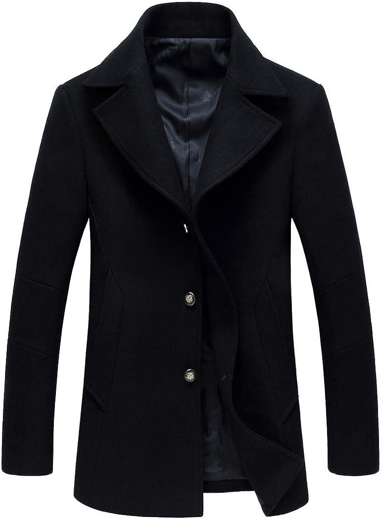 Michealboy Men's Wool Blend Pea Coat Single Breasted Notched Slant Pockets Black Camel True Size