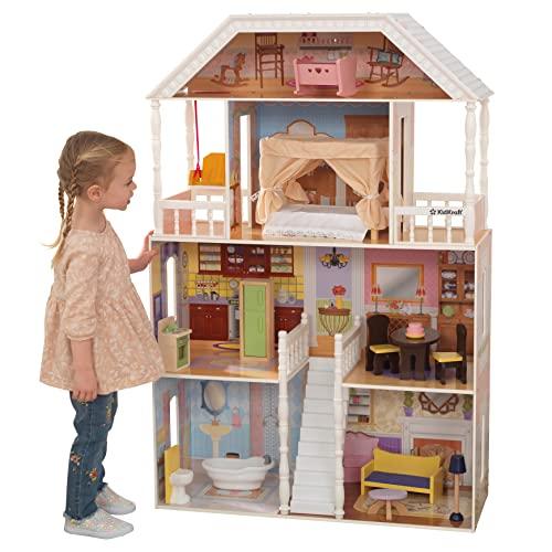 Kidkraft 65023 Casa delle Bambole in Legno Savannah per Bambole di 30 Cm con 14 Accessori Inclusi e 4 Livelli di Gioco