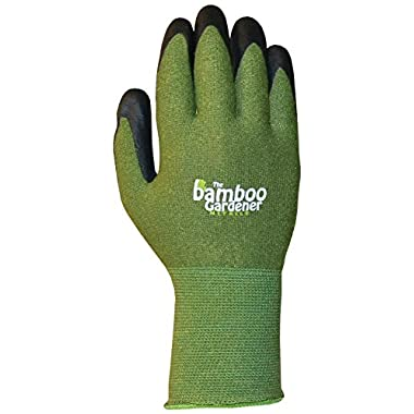 Bellingham C5371M The Bamboo Gardener Work Gloves, Made of Sustainable Bamboo Rayon Fiber, Durable Nitrile Palm and Fingers, Medium, Green