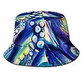 Bucket Hat Packable Reversible Gigantesco Pulpo colosal Resumen Monstruo Marino Acuarela Imprimir Sombrero para el Sol Sombrero de Pescador Gorra Acampar al Aire Libre