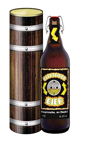 Elektriker Bier Handwerk Strom - 1 Liter Flasche mit Bügelverschluss in der Geschenkdose im Holzdesign