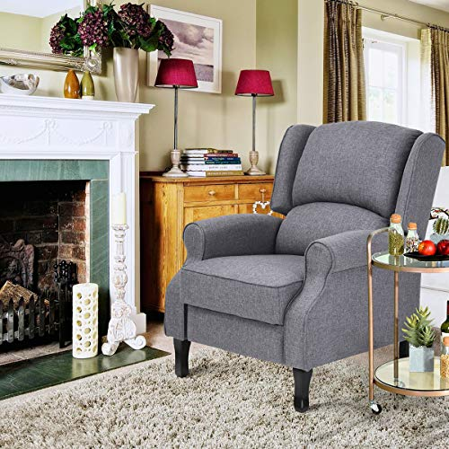 Geniqua Fabric Manual Push Back Living Room Recliner Sofa Single Chair Reclining Couch Room Lounger Home Furniture, Gray