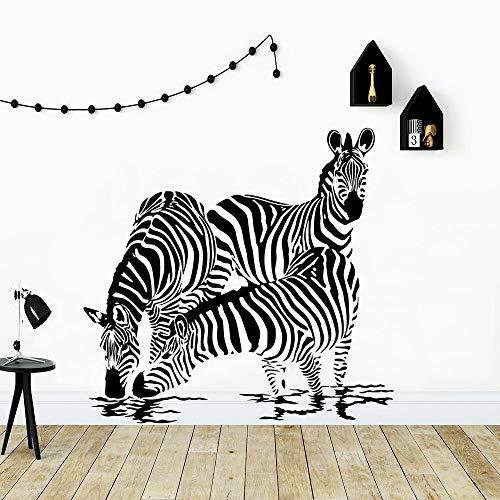 Dibujos animados cebra africana caballo animal bebida agua familia amor vinilo pared pegatina niños guardería dormitorio sala de estar estudio club decoración del hogar mural