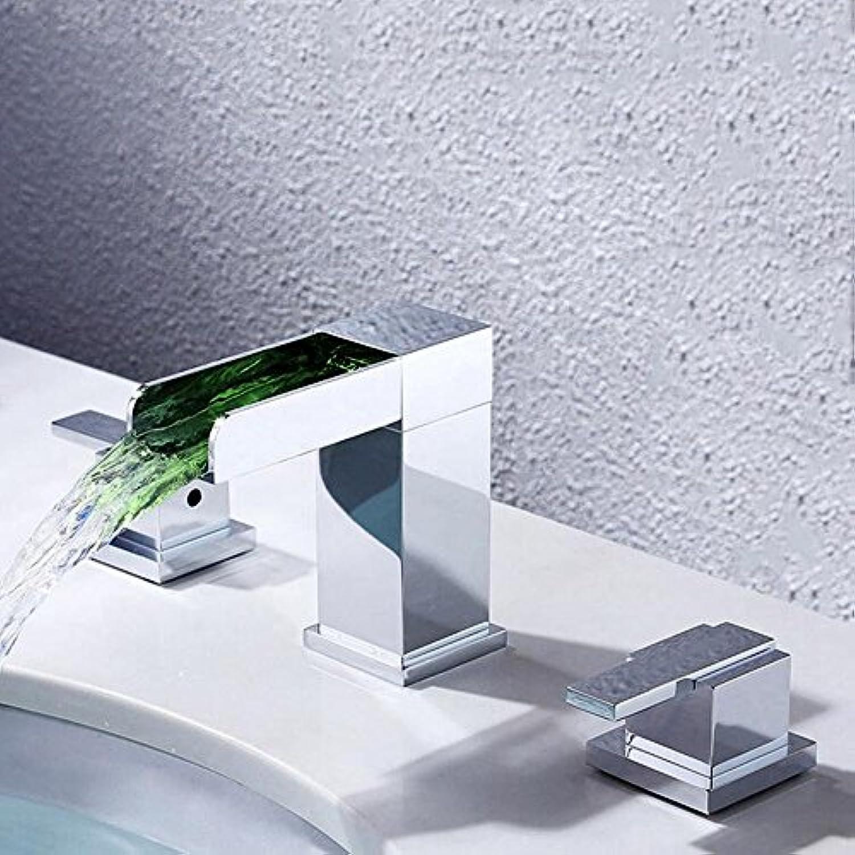 LED Wasserhahn Küchenhahn LED Desktop Wasserfall Waschbecken Wasserhahn dreiteilig