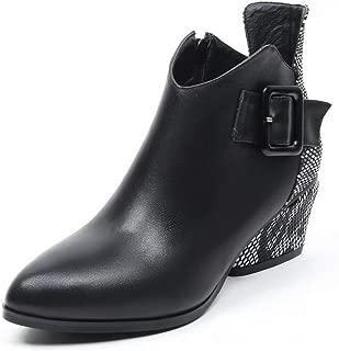BalaMasa Womens Frayed-Seams Graffiti Pattern Nubuck Leather Boots ABM13601