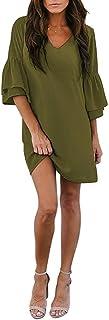 Cucuchy Womens Casual Dress V-Neck Bell Sleeve Shift Dress Mini Dresses