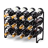 Simple Trending 3-Tier Stackable Wine Rack, Standing Bottles Holder Organizer, Wine Storage Shelf, Towel Rack for Kitchen Pantry Cabinet, Hold 12 Bottles, Bronze