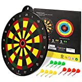 Glonova Reversible Magnetic Dart Board Double Sided for Kids Dart Board Game Includes 16' Dartboard & 12 Darts for Adult and Kids Age 4+