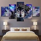 5 Piece Canvas Póster Decoración Del Hogar Arte De La Pared Foto Corona Lobo Sin Marco