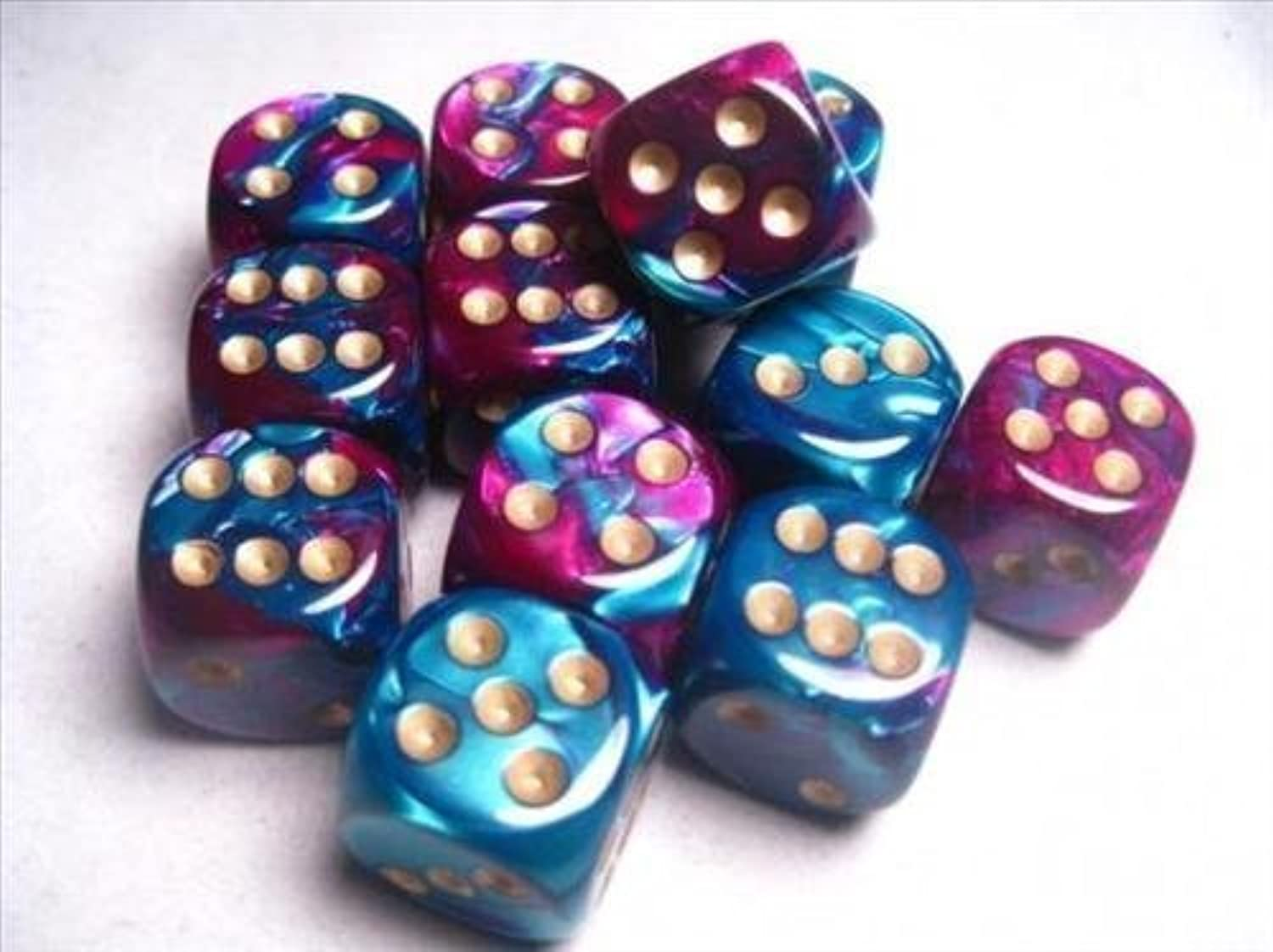 Chessex Dice d6 Sets  Gemini Purple & Teal with gold - 16mm Six Sided Die (12) Block of Dice (2-Pack)