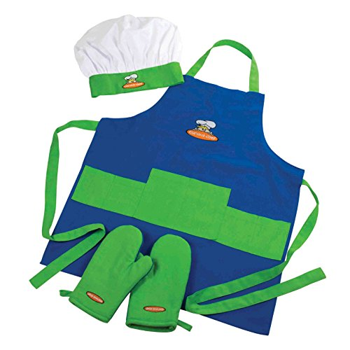 Curious Chef Hat, Apron, and Oven Mitt Set for Boys