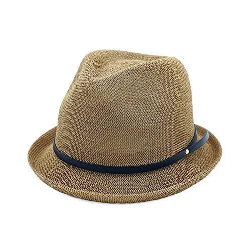 Duyani 2019 Moda Primavera Verano Mujeres Sombrero for el Sol Sombrero de Fedora Sombrero de Copa de Rizado Sombrero clásico de Jazz Tamaño 56-58 CM (Color : Coffee, Size : 56-58cm)