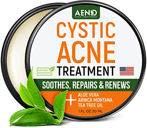 Cystic Acne Treatment and Acne Scar Remover - Made in USA - Effective Face & Body Severe Acne Cleanser with Tea Tree Oil - Prevent Future Breakouts - Natural Acne Balm, Pimple Cream - 1 fl.oz