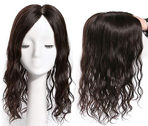 LXUE 14 x 14 cm Base en soie pour cheveux humains avec pinces à effiler sur le dessus bouclé, 40,6 cm, marron foncé
