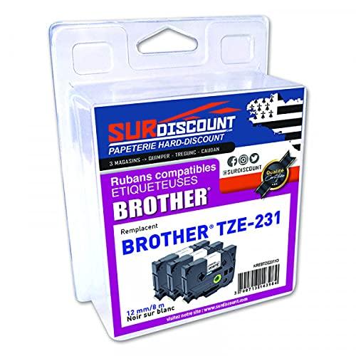 Lote de 3 cintas compatibles para broca Brother TZE-231 12 mm/8 m, plástico negro sobre blanco